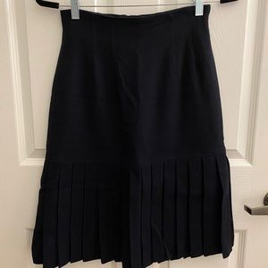 Christian Dior Vintage Navy Wool Pleated Skirt